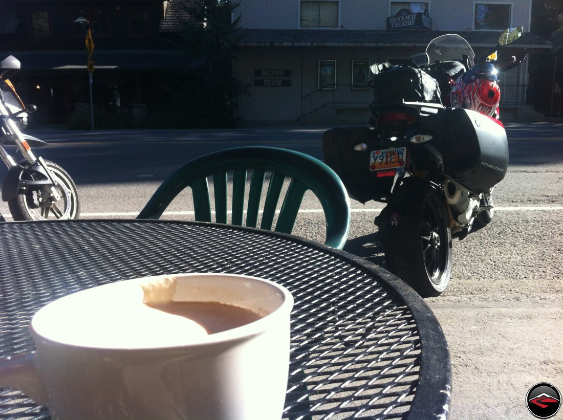 Drinking Coffee at Brockway Bakery in Lake Tahoe, California while looking at a Ducati Multistrada 1200