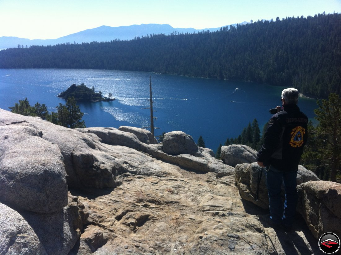 Tom enjoying the view of Fanette Island the Tea House, in Emerald Bay on Lake Tahoe from the Vikingsholm Scenic Viewpoint