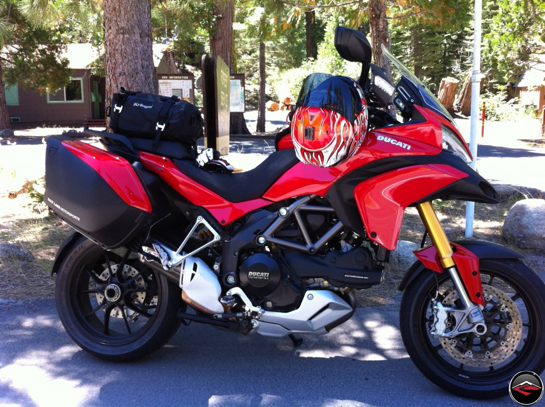 Hero shot of Ducati Multistrada 1200 with luggage, Kriega US-20 tailbag, Haga replica Arai Helmet