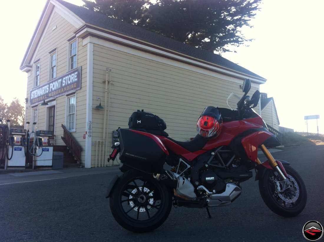 Ducati Multistrada 1200 parked in front of Stewarts Point Store, at teh head of Skaggs Springs Road