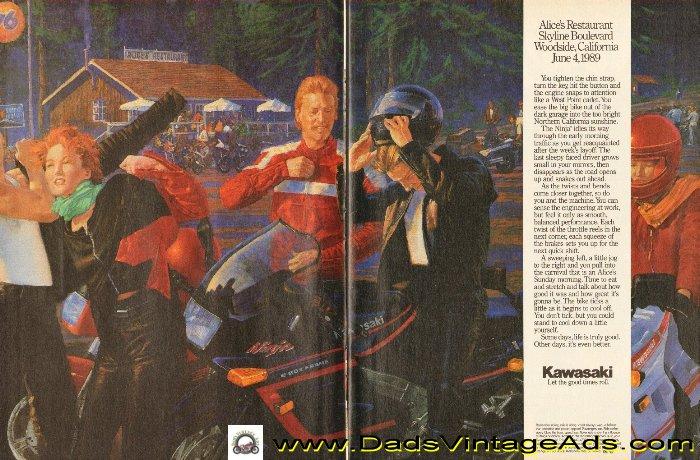 1989 Kawasaki Alices Restaurant Vintage Ad, Alice's Restaurant, Skyline Boulevard, Woodside, California