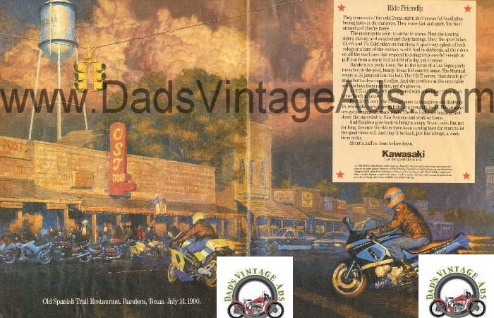 Vintage Kawasaki Magazing Ad, Old Spanish Trail Restaurant, Bandera Texas