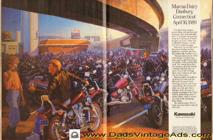 Vintage Kawasaki magazine ad, Marcus Dairy, Danbury Connecticut